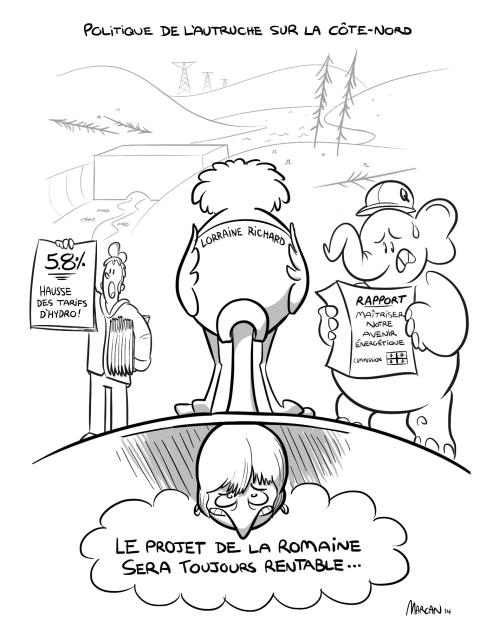 Caricature de Marc-André illustrant la réaction du PQ, et de la députée de Sept-Îles face aux recommandations de la Commission sur les enjeux énergétiques